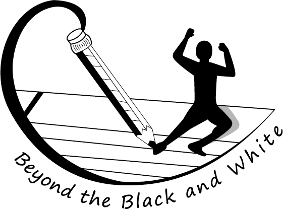 Beyond the Black and White logo shows a hand drawn pencil, writing on paper, and the silhouette of a person coming off page