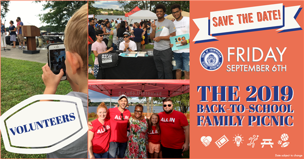 Save the date for the Back to School Family Picnic - Volunteers