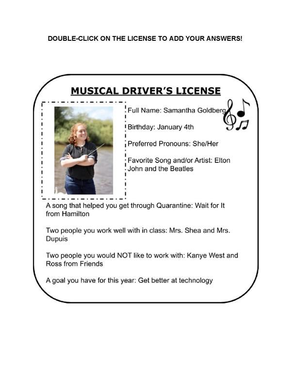 Ms. Goldberg's Musical Driver's License