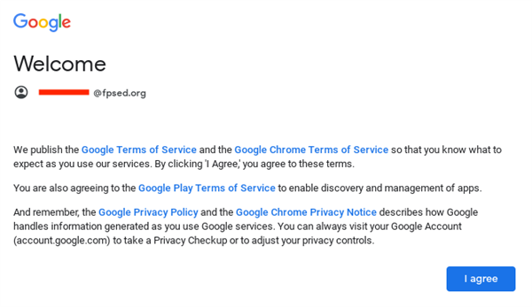 Google Agreement Screen
