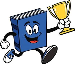 Book with trophy clipart
