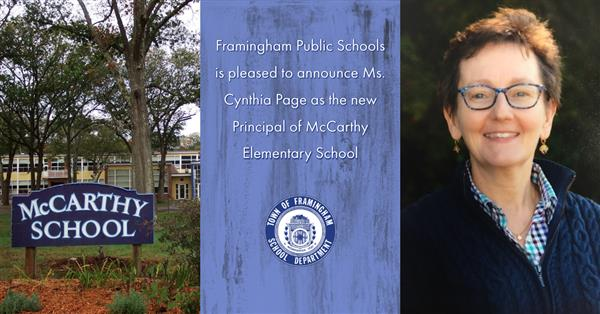 Cynthia Page Photo next to McCarthy Elementary School