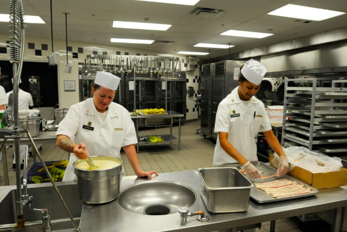 Food service employees working in the kitchen