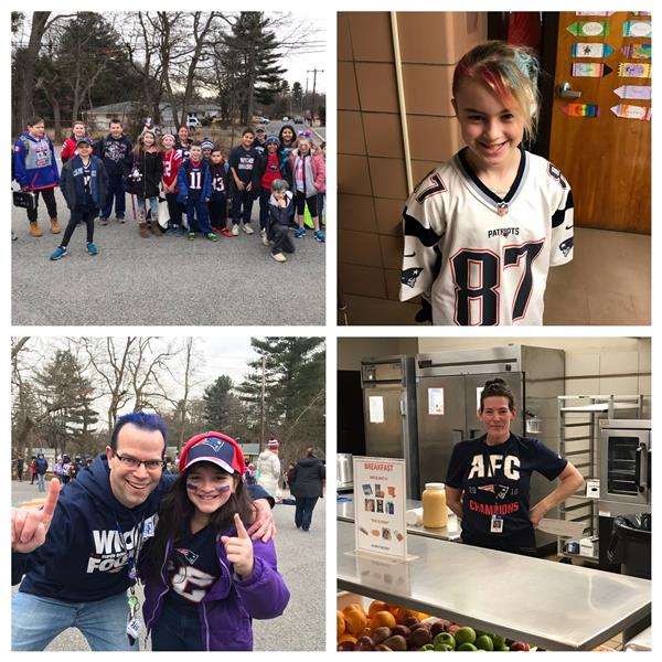 Image contains 4 photos of Potter Road students and staff with Patriots gear.
