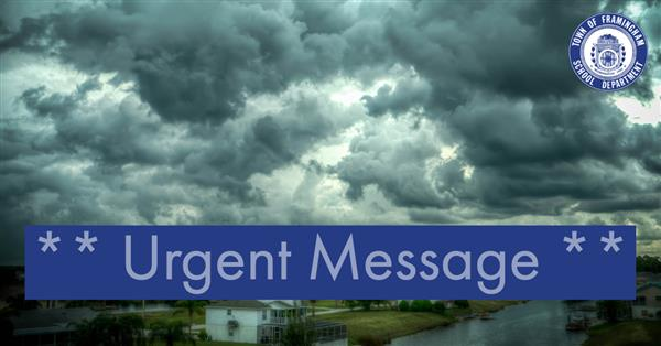 Urgent Message on top of storm clouds