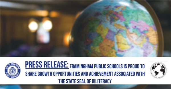 Globe in the background, press release title: Framingham Public Schools is Proud to Share Growth Op