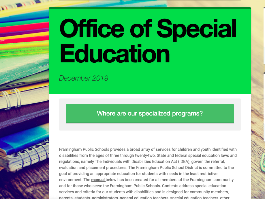 Screenshot of Special Education Smore Newsletter