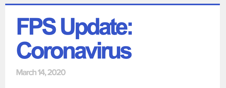 FPS Update - Coronavirus and Social Distancing