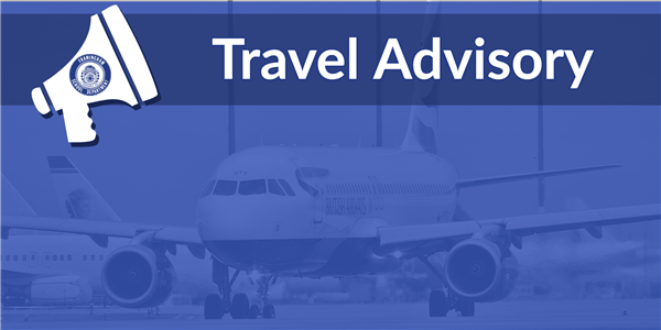 Plane with text overlay that says Travel Advisory