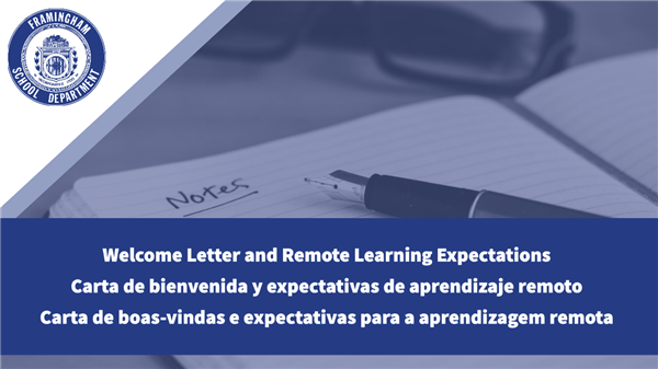 Welcome Letter and Remote Learning Expectations