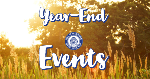 Image of tall grass with the sun shining down with text on top that reads: Year-End Events