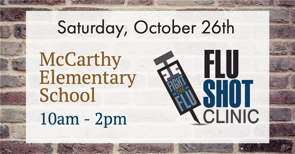 Free Family Flu Clinic at McCarthy Elementary School on 10/26/19