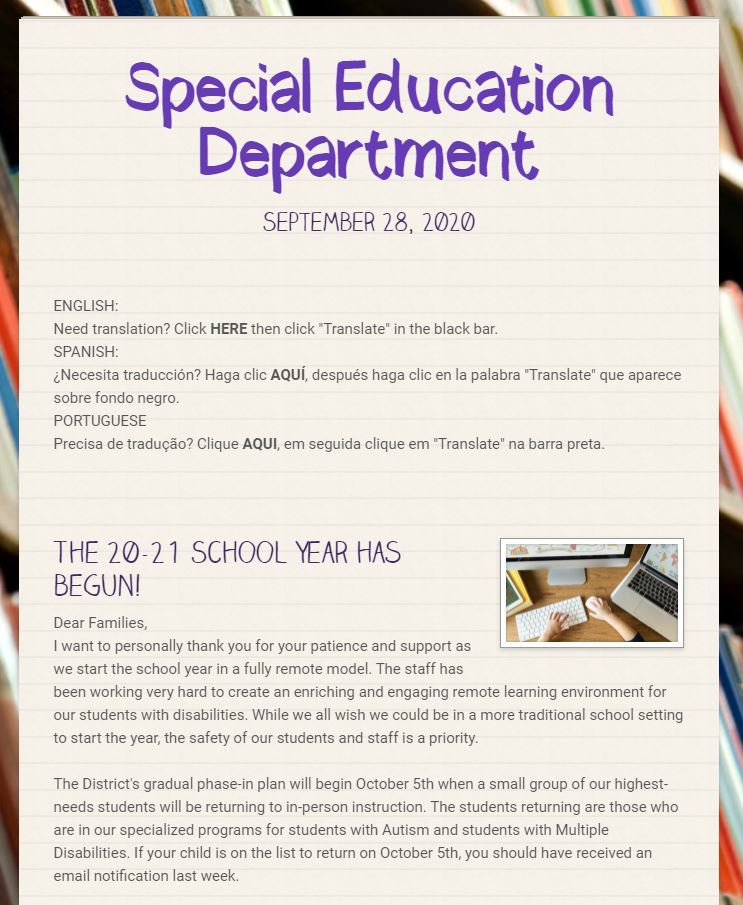 Parent Newsletter with Letter from Russell Johnson (State Special Education Director)