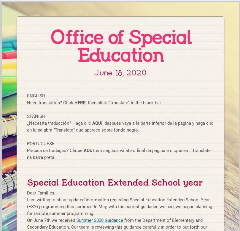 Extended School Year Programming Newsletter (June 18, 2020)