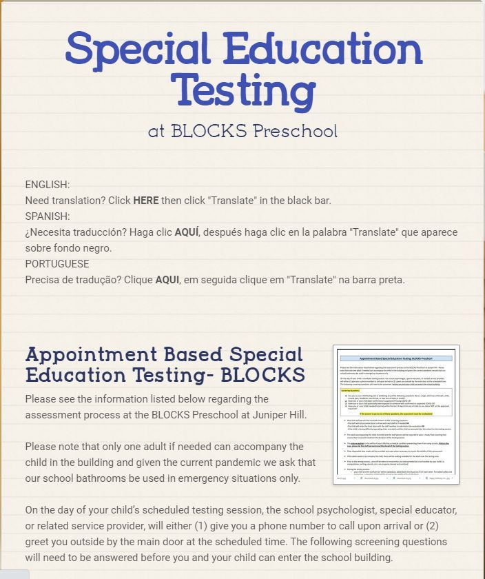 BLOCKS Preschool Appointment Based Special Education Testing (September 4, 2020)
