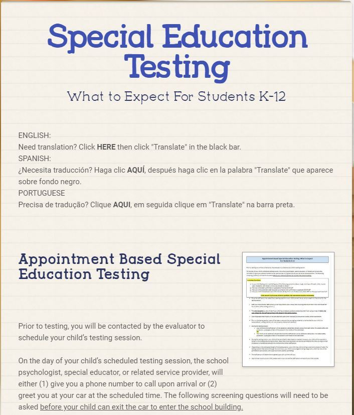 K-12 Appointment Based Special Education Testing (September 4, 2020)